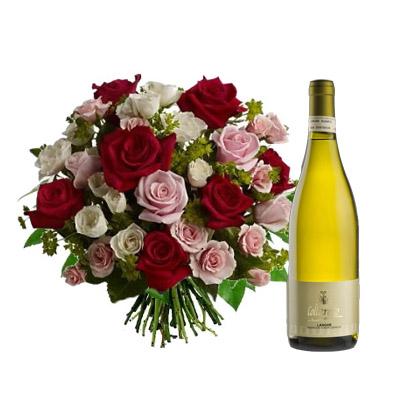 Ordina 09 Rose Rosse e Rosa in Bouquet con Vino Bianco online e invia a domicilio