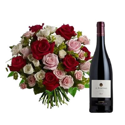 Ordina 09 Rose Rosse e Rosa in Bouquet con Vino Rosso online e invia a domicilio
