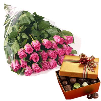 Rose Rosa con Cioccolatini