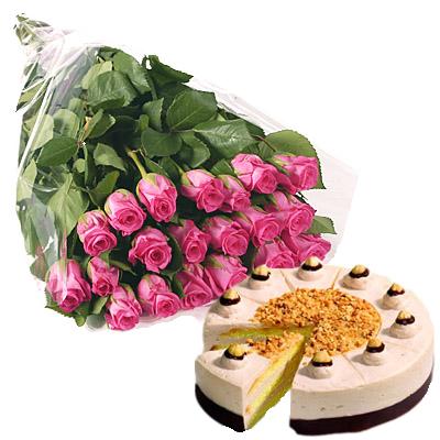 Rose Rosa con Torta