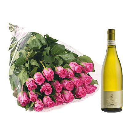 Rose Rosa con Vino Bianco