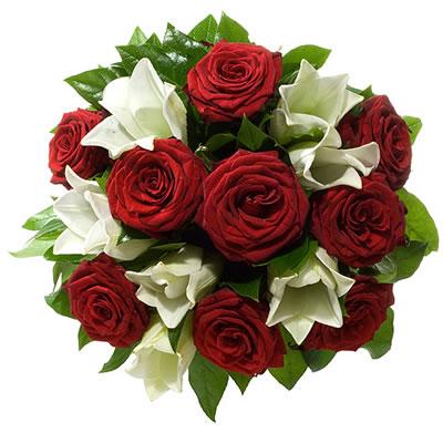 Ordina 03 Lilium Bianchi e Rose Rosse online e invia a domicilio