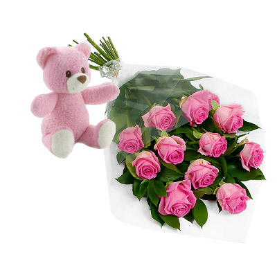 06 Roselline Rosa Con Orsetto Rosa