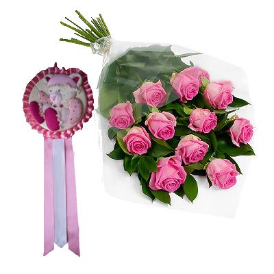Roselline Rosa Con Coccarda Rosa