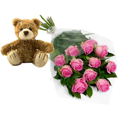 Roselline Rosa Con Orsetto Marrone