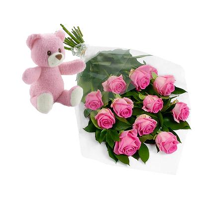 Roselline Rosa Con Orsetto Rosa