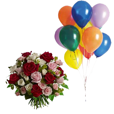 Rose Rosse e Rosa con 10 Palloncini