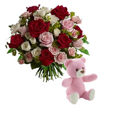 Rose Rosse e Rosa con Orsetto Rosa