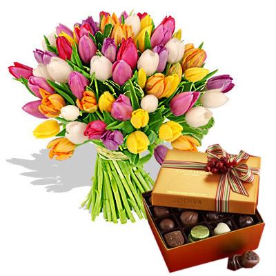 Ordina 01 Coloratissimi Tulipani Con Cioccolatini online e invia a domicilio