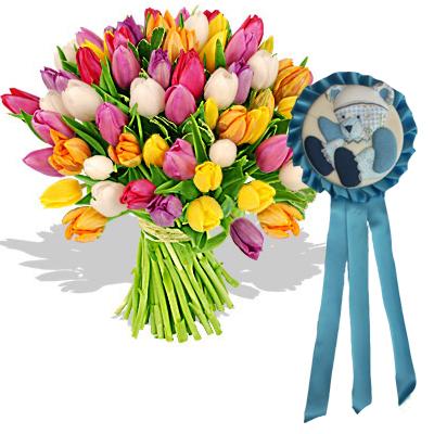 Ordina 01 Coloratissimi Tulipani Con Coccarda Blu online e invia a domicilio