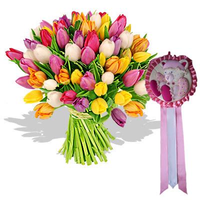 01 Tulipani Colorati Con Coccarda Rosa
