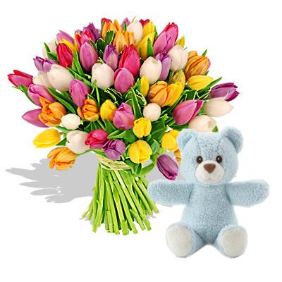 Ordina 01 Coloratissimi Tulipani Con Orsetto Blu online e invia a domicilio