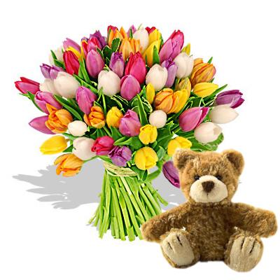 Ordina 01 Coloratissimi Tulipani Con Orsetto Marrone online e invia a domicilio