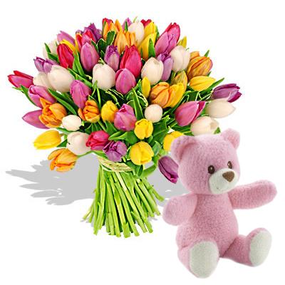 Ordina 01 Coloratissimi Tulipani Con Orsetto Rosa online e invia a domicilio