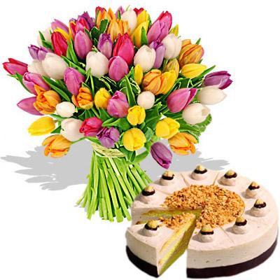 Ordina 01 Coloratissimi Tulipani Con Torta online e invia a domicilio