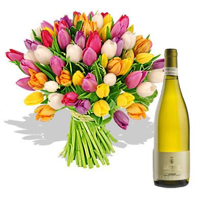 Ordina 01 Coloratissimi Tulipani Con Vino Bianco online e invia a domicilio