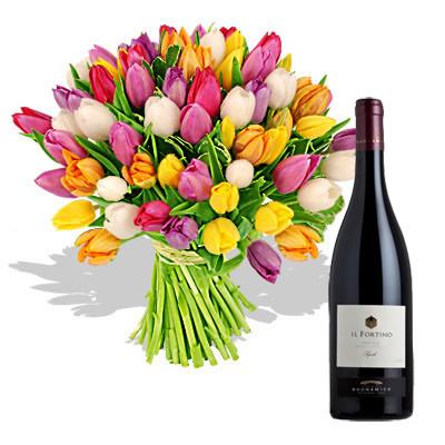 Ordina 01 Coloratissimi Tulipani Con Vino Rosso online e invia a domicilio