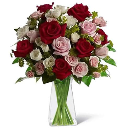 Spedire rose rosse e rosa con vaso