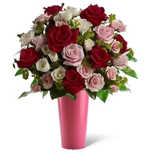 Spedire rose rosse e rosa con vaso rosa
