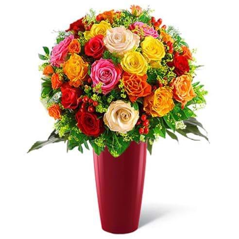 Spedire 15 rose colorate in vaso rosso