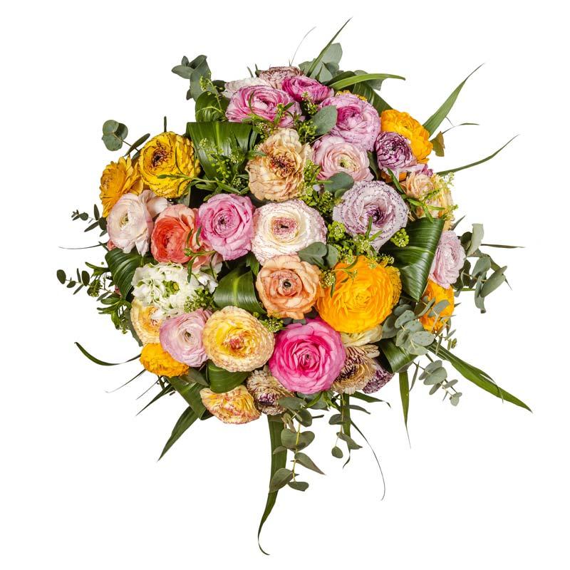 Spedire mazzo di rose screziate con vaso rosso