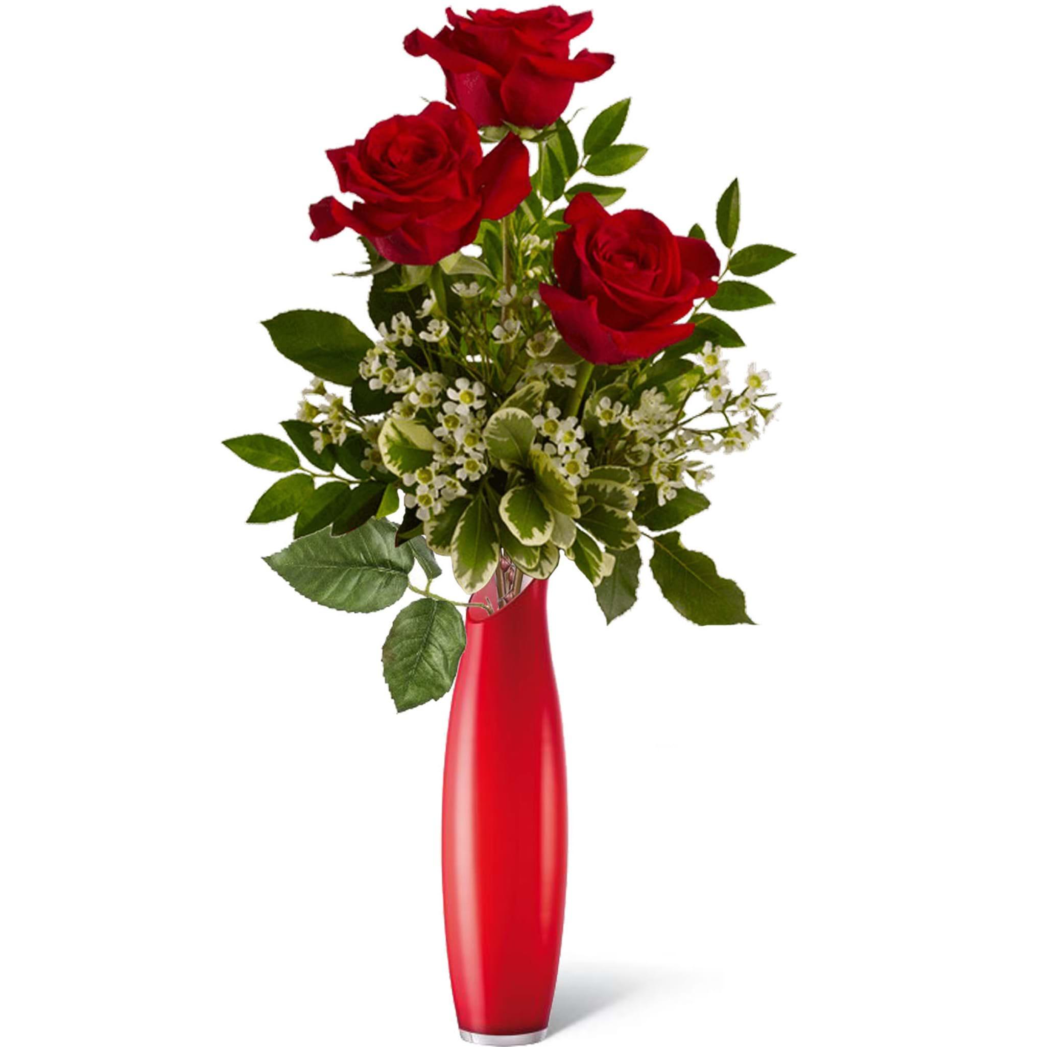 Spedire 3 rose rosse in vaso rosso