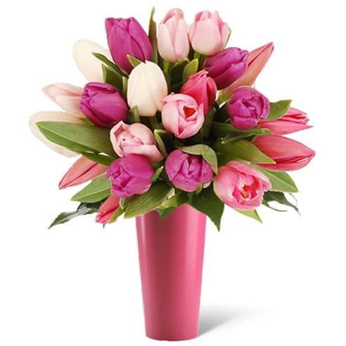 Spedire tulipani rosa con vaso rosa
