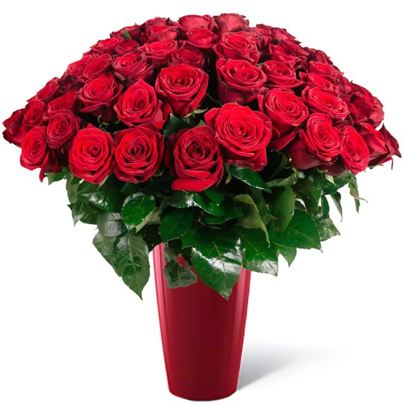 Spedire 50 sfumature di rosso in vaso rosso