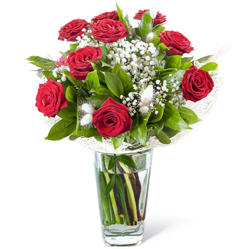 Spedire 9 rose rosse iin vaso