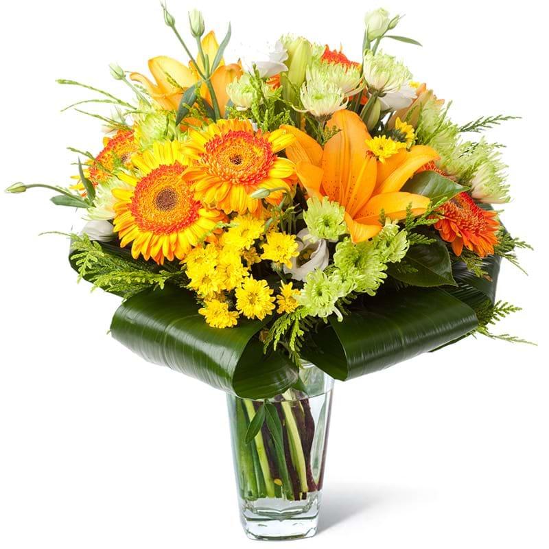 Spedire bouquet arancione in vaso