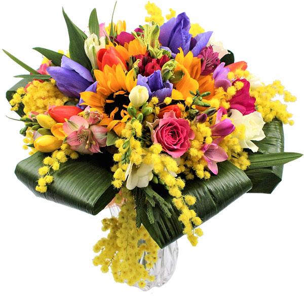 Spedire bouquet colorato con mimosa