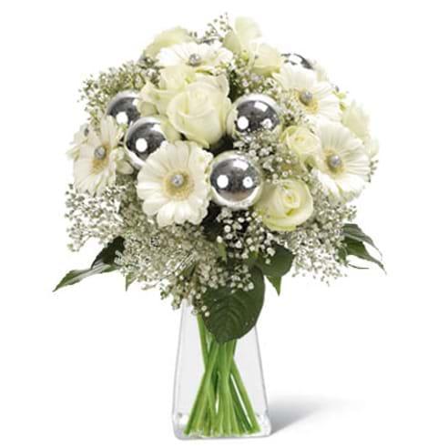 Spedire bouquet di natale bianco in vaso