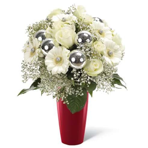 Spedire bouquet di natale bianco in vaso rosso