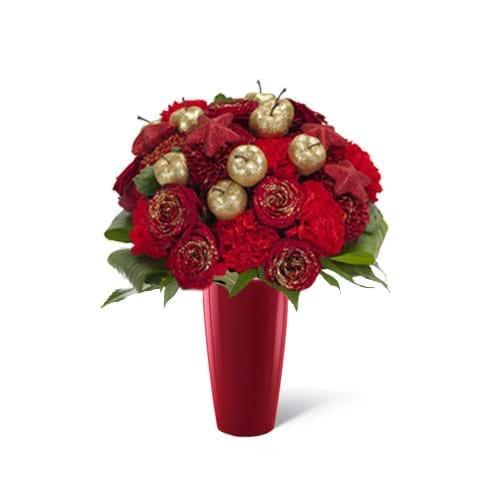 Spedire bouquet natalizio in vaso rosso