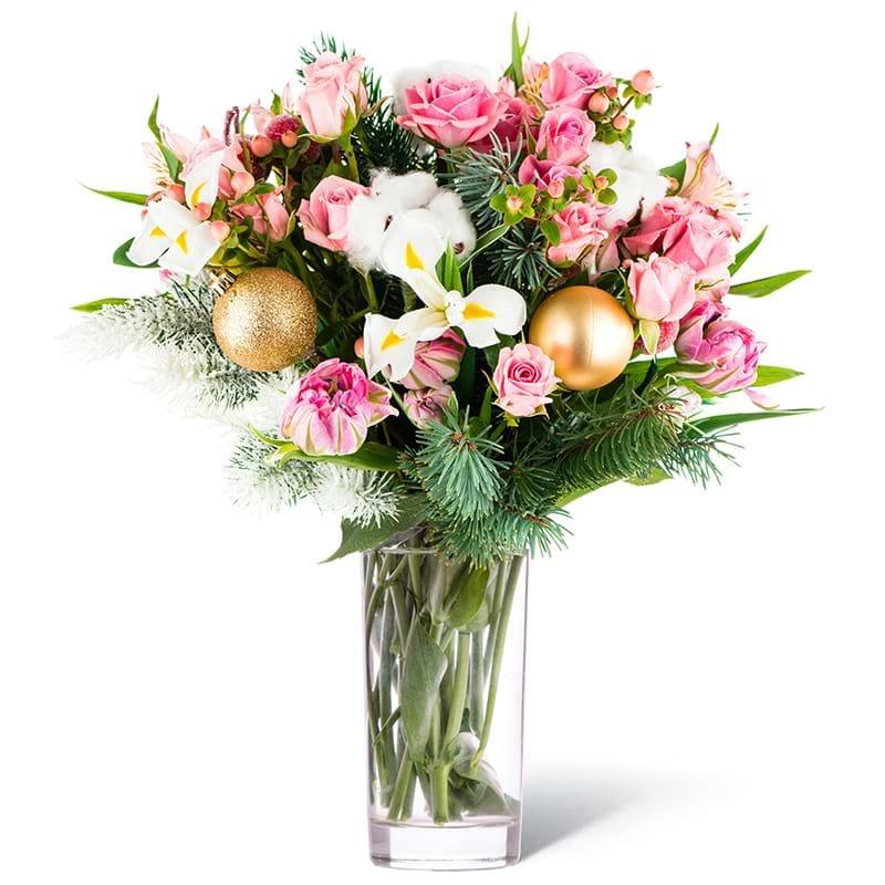 Spedire bouquet natalizio romantico vaso