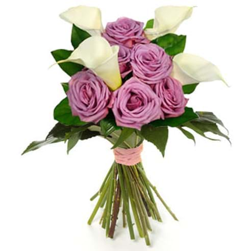 Spedire bouquet di rose rosa e calle