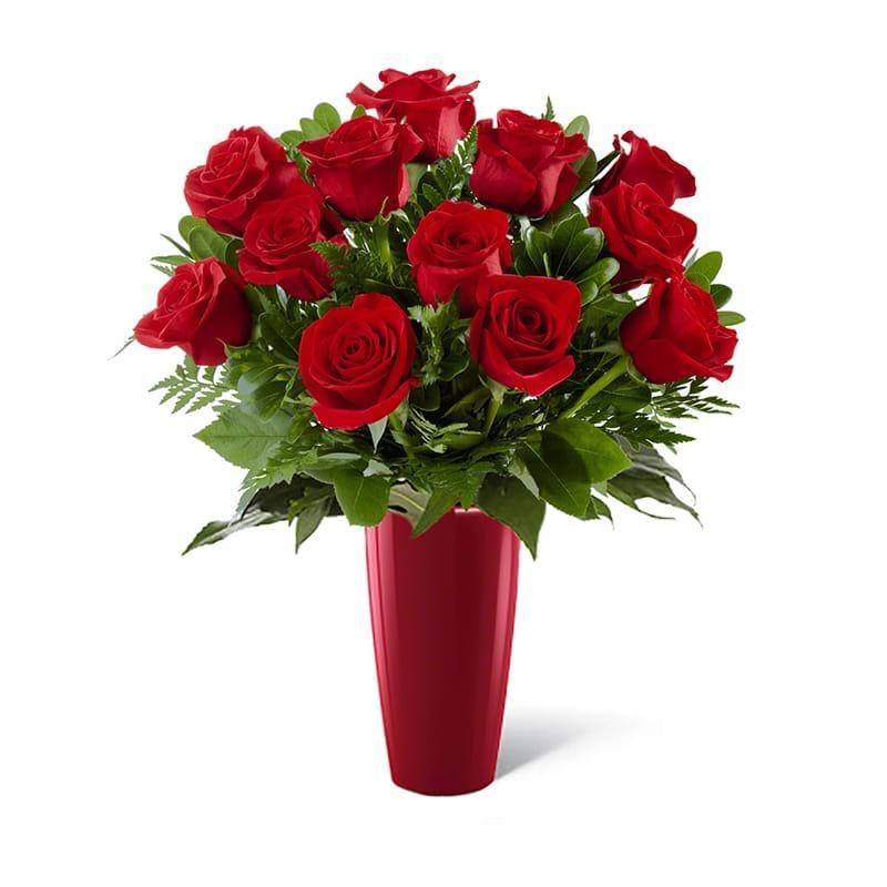 Spedire dozzina di rose rosse in vaso rosso