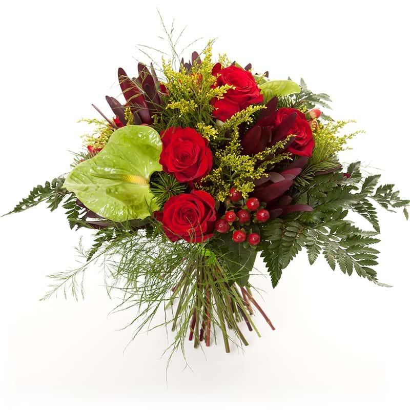 Spedire bouquet rose rosse e anthurium