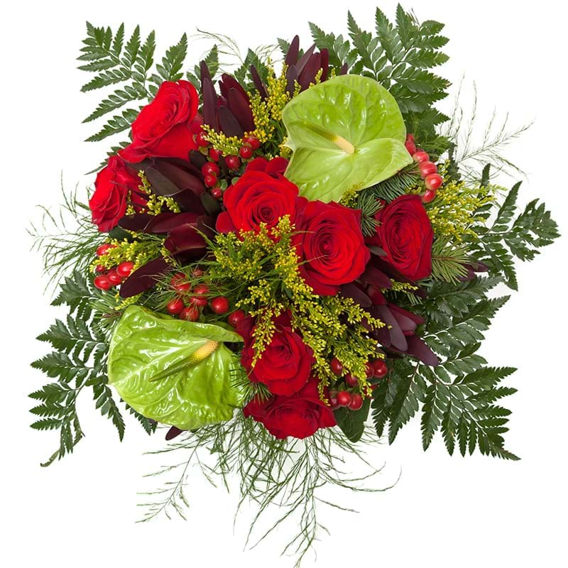 Spedire bouquet rose rosse e anthurium vista alto
