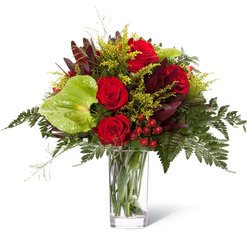 Italia in fiore consegna bouquet rose rosse e anthurium in vaso in Italia