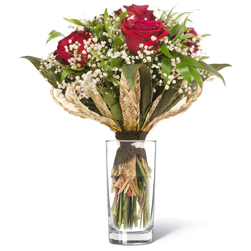 Spedire bouquet di sei rose rosse in vaso