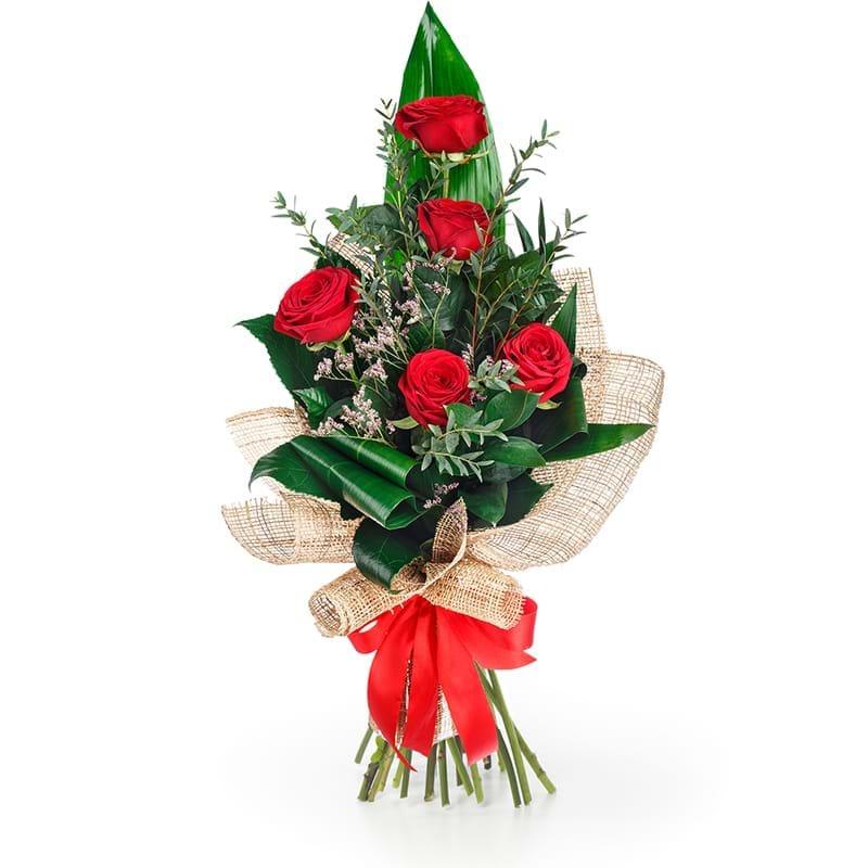 Spedire bouquet cinque rose rosse