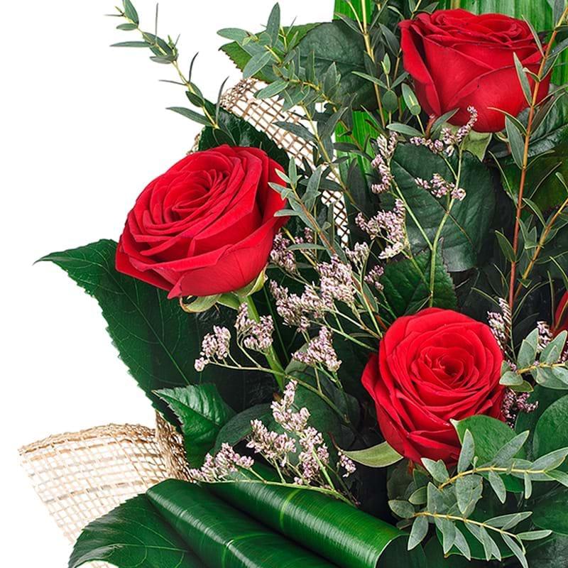 Spedire bouquet cinque rose rosse particolare