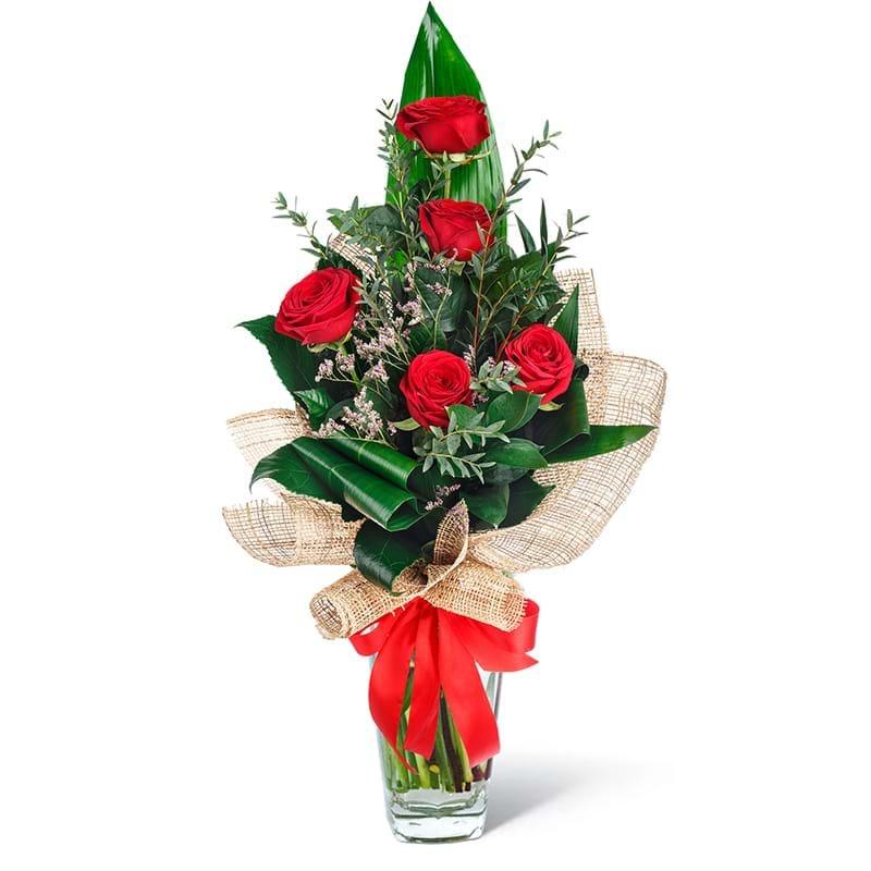 Spedire bouquet cinque rose rosse in vaso