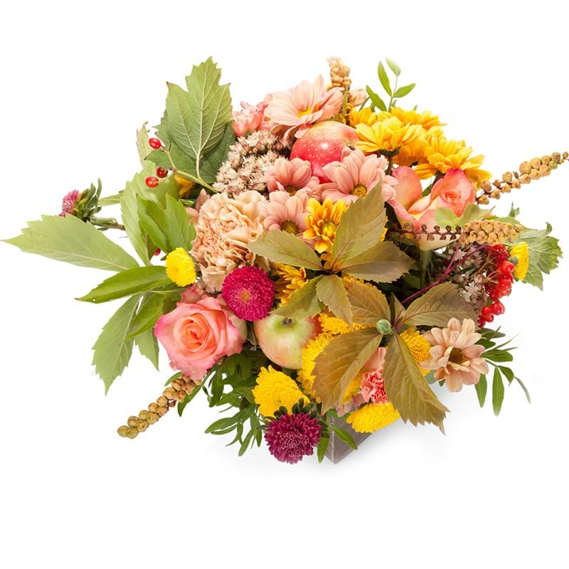 Spedire composizione fiori e frutta vista alto