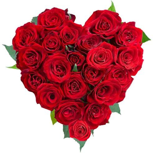 Spedire cuore di rose rosse