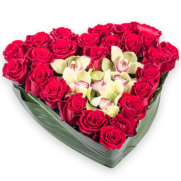 Spedire cuore di rose e orchdee
