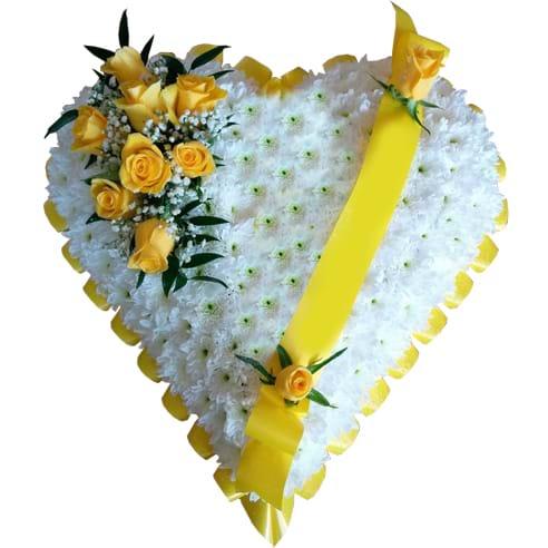 Spedire cuore funerale giallo
