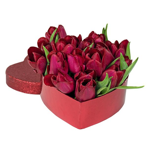 Spedire coure di tulipani rossi