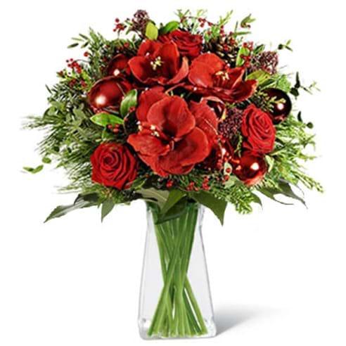 Spedire fiori di natale rossi con vaso